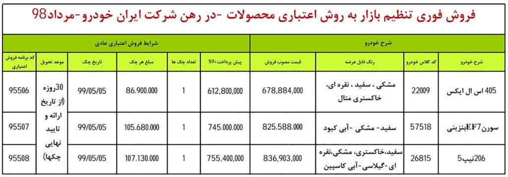 فروش قسطی ایران خودرو ۱ مرداد ۹۸