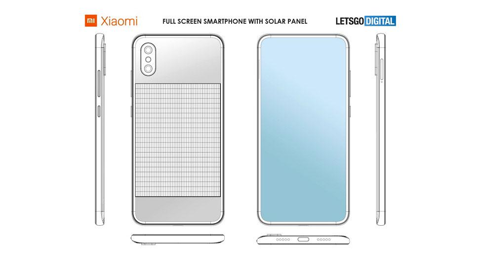 حق اختراع شیائومی برای موبایل با پنل خورشیدی