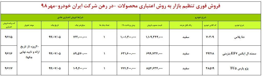 شرایط فروش ایران خودرو چهارشنبه ۳ مهر ۹۸ برای دنا پلاس سمند EF7 و پژو پارس TU5