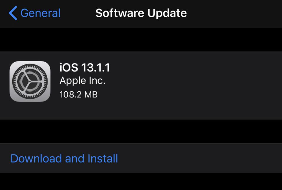 آپدیت iOS 13.1.1
