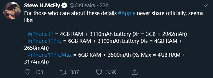 حافظه رم آیفون ۱۱با آیفون ۱۱ پرو و آیفون ۱۱ پرو مکس در کنار حجم باتری آن ها