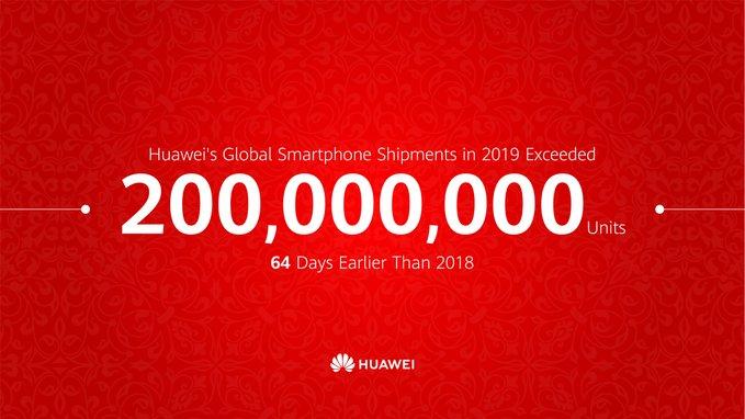 هواوی تا کنون ۲۰۰ میلیون موبایل در سال ۲۰۱۹ فروخته است