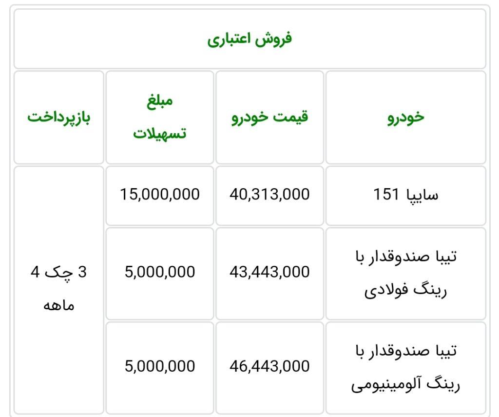 شرایط فروش سایپا چهارشنبه ۲۴ مهر ۹۸