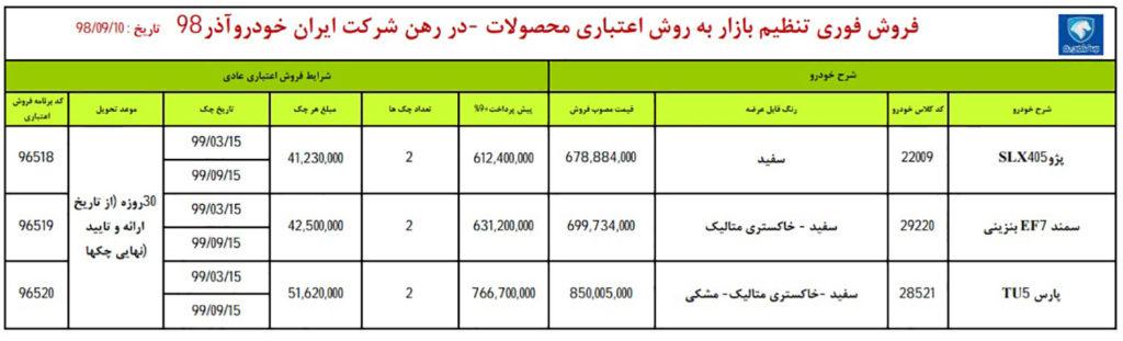 شرایط فروش فوری ایران خودرو یکشنبه ۱۰ آذر ۹۸