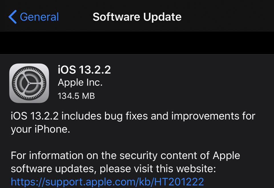 آپدیت iOS 13.2.2