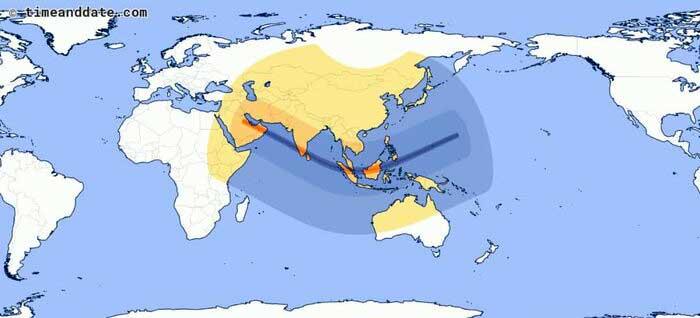 مسیر خورشیدگرفتگی حلقوی در پنجم دی ماه
