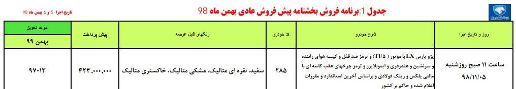 شرایط پیش فروش ایران خودرو شنبه ۵ بهمن ۹۸