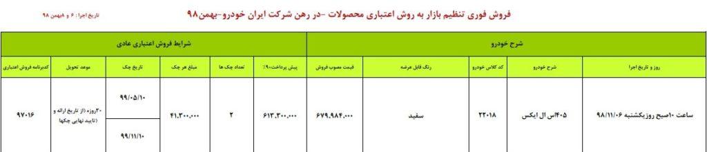 فروش فوری ایران خودرو یکشنبه ۶ بهمن ۹۸