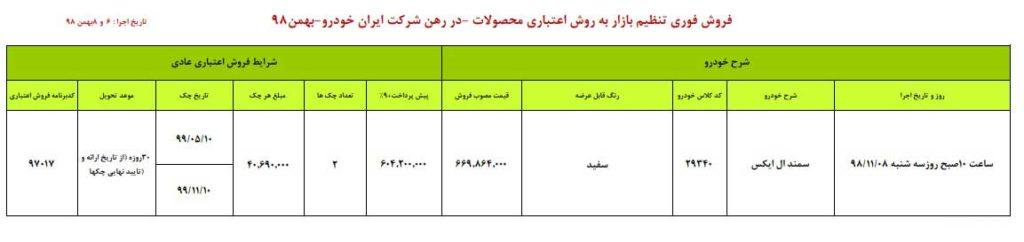 فروش فوری ایران خودرو سه شنبه ۸ بهمن ۹۸
