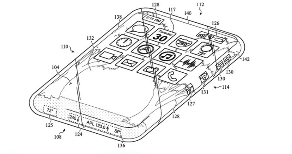 حق اختراع اپل برای آیفون با نمایشگر چهار لبه خمیده