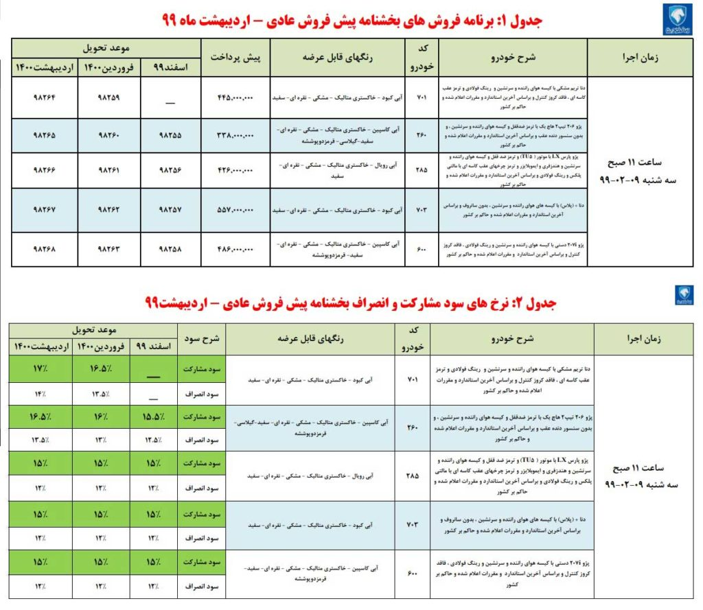پیش فروش ایران خودرو سه شنبه ۹ اردیبهشت ۹۹