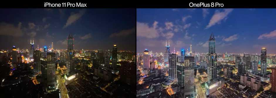 مقایسه دوربین وان پلاس ۸ پرو با آیفون ۱۱ پرو مکس در شب