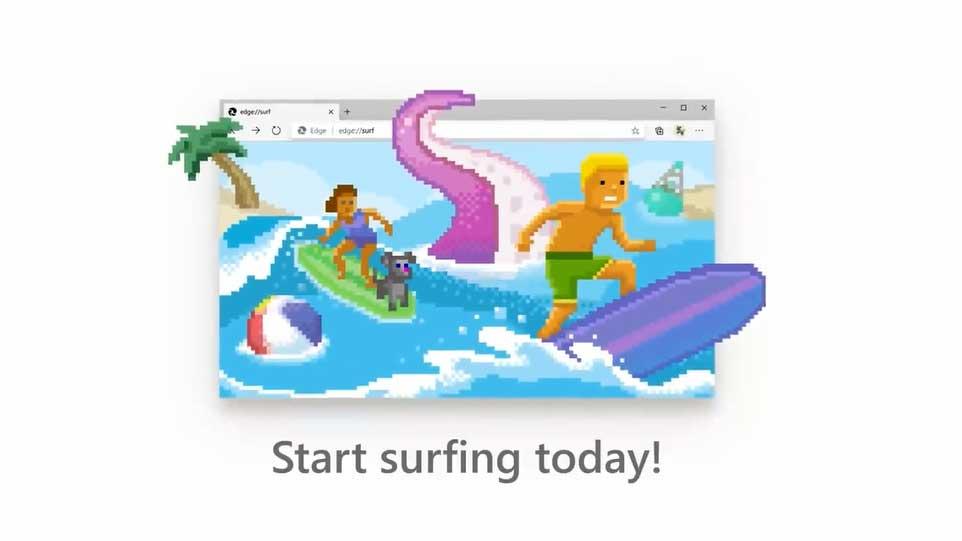 بازی آفلاین مرورگر Edge به نام Surf