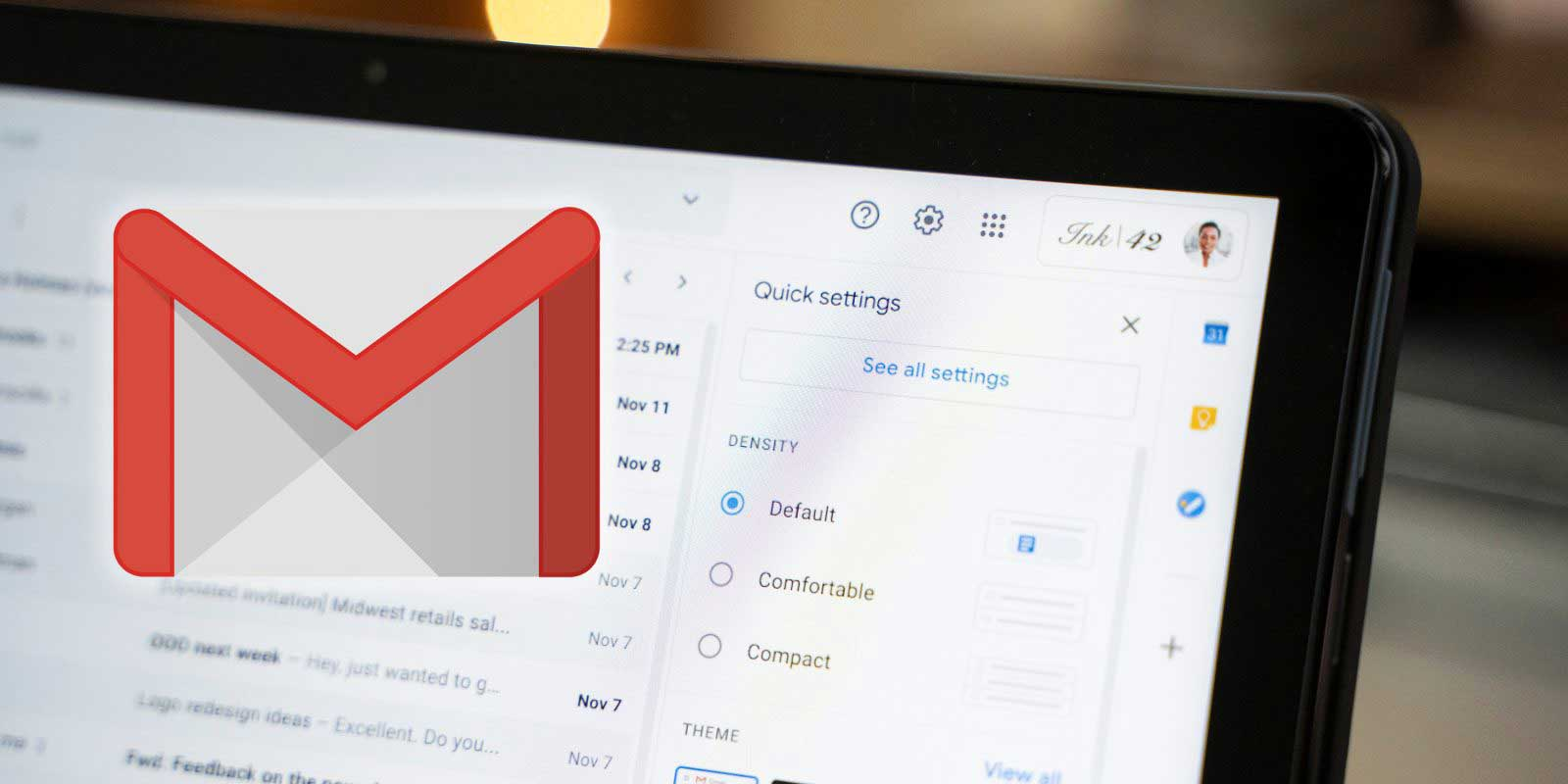 منو تنظیمات Gmail