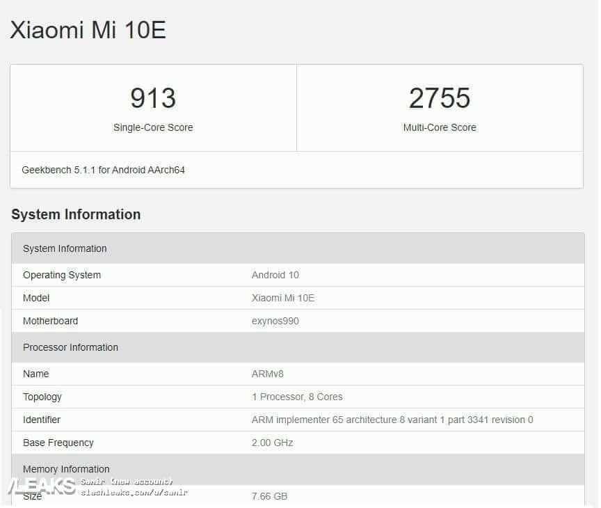 شیائومی Mi 10E با اگزینوس ۹۹۰