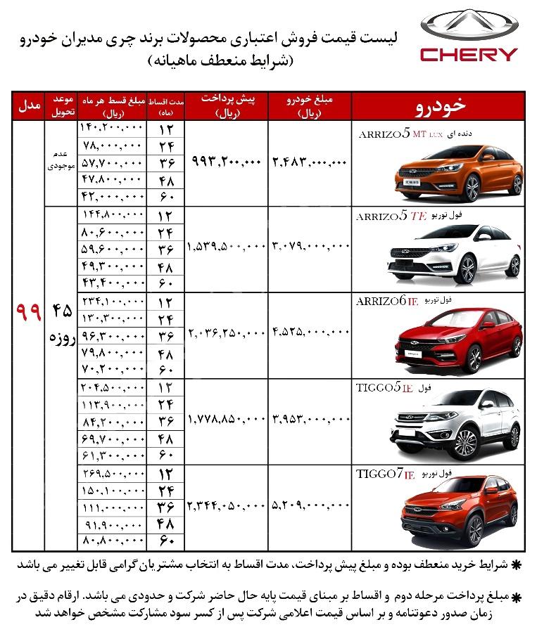 شرایط فروش اقساطی محصولات چری خرداد ۹۹