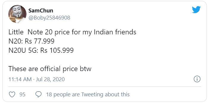 قیمت گلکسی نوت ۲۰