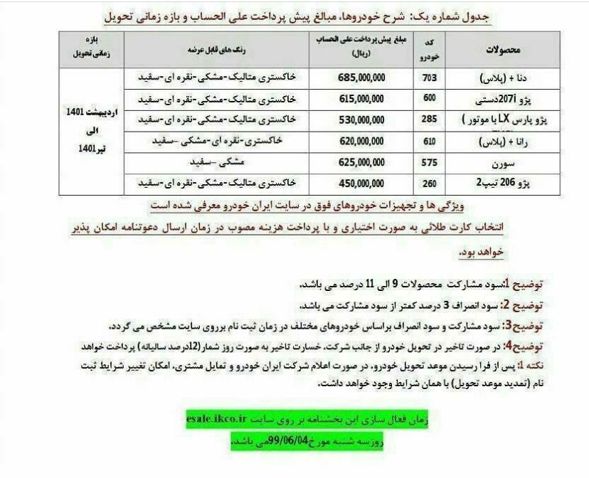 پیش فروش ایران خودرو سه شنبه ۴ شهریور ۹۹