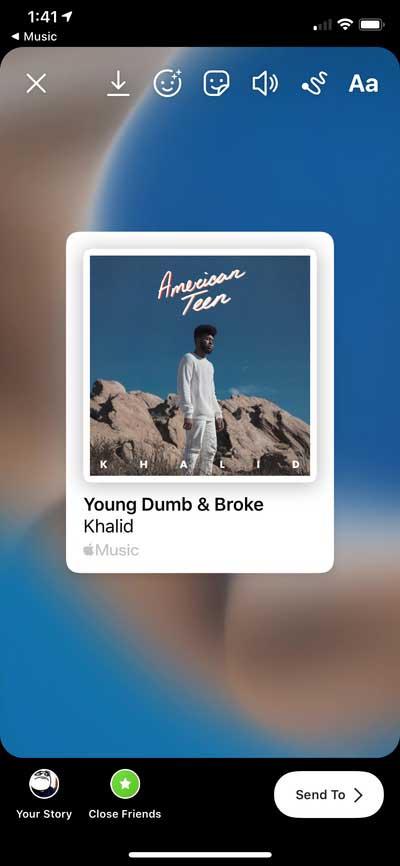Apple Music در استوری اینستاگرام
