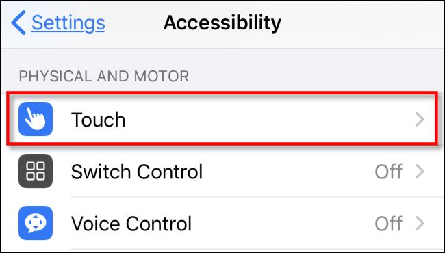 در تنظیمات iPhone یا iPad روی Touch ضربه بزنید