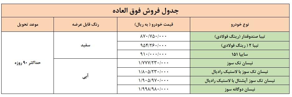 فروش فوری سایپا سه شنبه ۲۰ آبان ۹۹