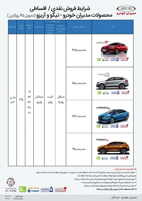 کاتالوگ طرح ۲ فروش اقساطی محصولات چری و آریزو آذر ۹۹