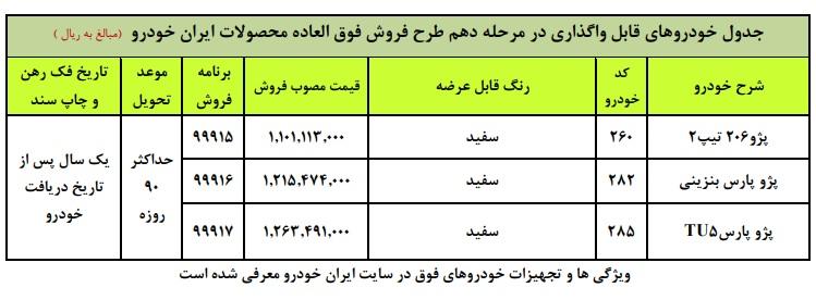 فروش فوق العاده ایران خودرو یکشنبه ۳۰ آذر ۹۹