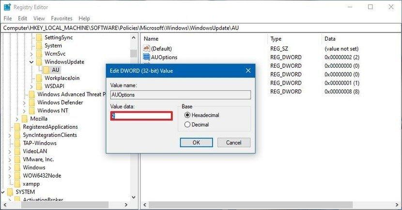 محدود کردن آپدیت های ویندوز 10 با Registry