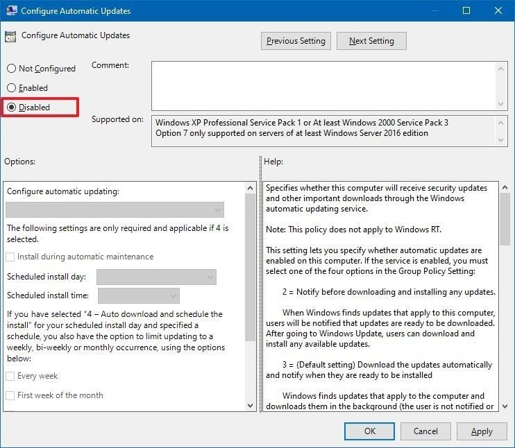 آموزش غیر فعال کردن آپدیت خودکار ویندوز 10 از طریق Group Policy