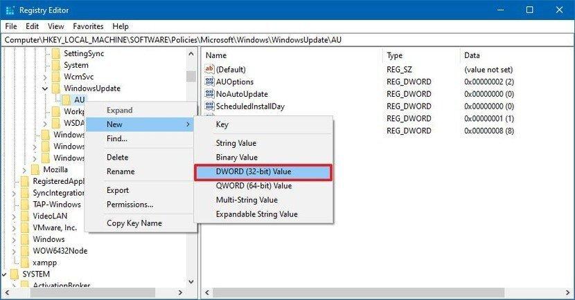 آموزش غیر فعال کردن آپدیت خودکار ویندوز 10 از طریق Registry