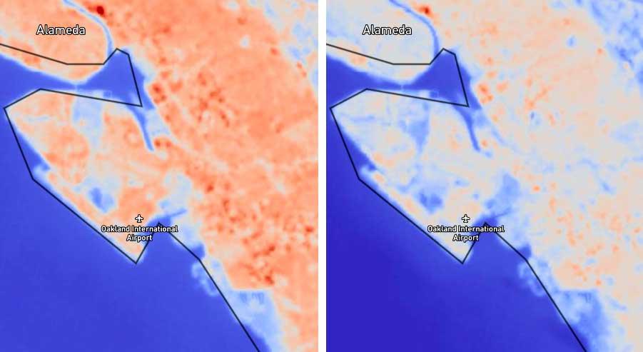 داده های حرارتی حاصل از ماهواره مشترک ناسا و سازمان زمین شناسی لندست نشان می دهد که در اثر جزیره گرمایی شهری ، پدیده ای که در آن مناطق شهری به طور قابل توجهی گرمتر از مناطق روستایی مجاور هستند ، در طی همه گیری کاهش می یابد. تصویر سمت چپ دمای بیش ازحد سانفرانسیسکو را در آوریل 2018 نشان می دهد ، در حالی که تصویر سمت راست دما سانفرانسیسکو را در آوریل 2020 نشان می دهد. دانشمندان دریافتند که پارکینگ های بزرگ ، راهروهای بزرگراه ها و پشت بام های تجاری به طور متوسط 10-15 درجه فارنهایت (5-8) درجه سانتیگراد) نسبت به سالهای گذشته از مارس تا مه 2020 خنک تر است.
