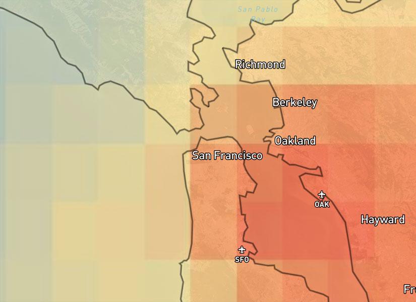 سطح بالای NO2 را در سانفرانسیسکو در 5 سال گذشته