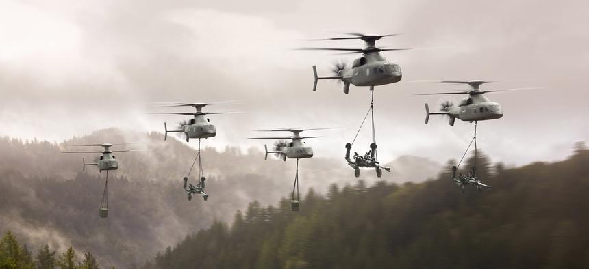 هلیکوپتر Defiant X در حال حمل هویتزر