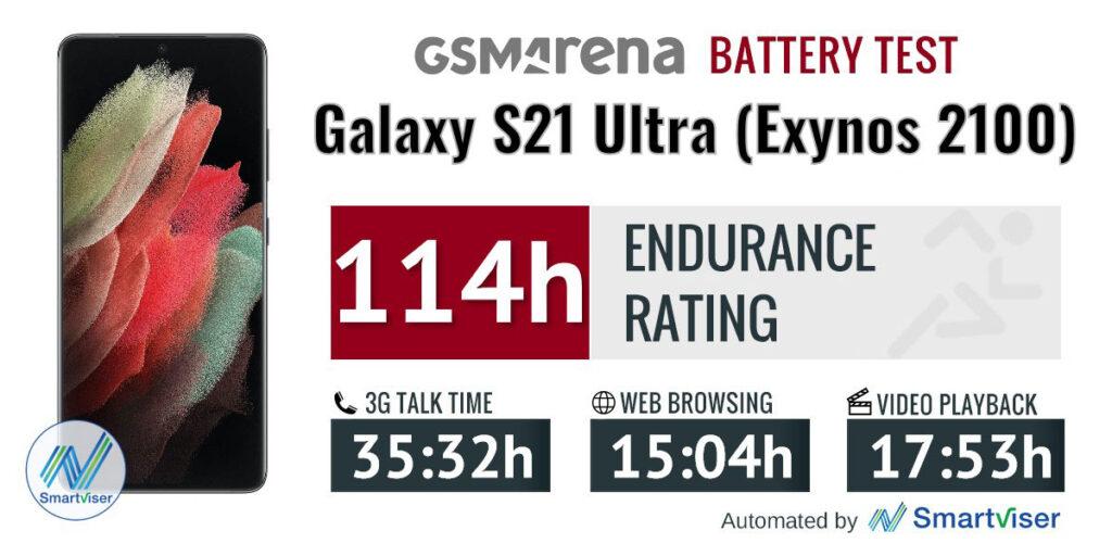تست باتری مدل اگزینوس ۲۱۰۰ گلکسی اس ۲۱ اولترا
