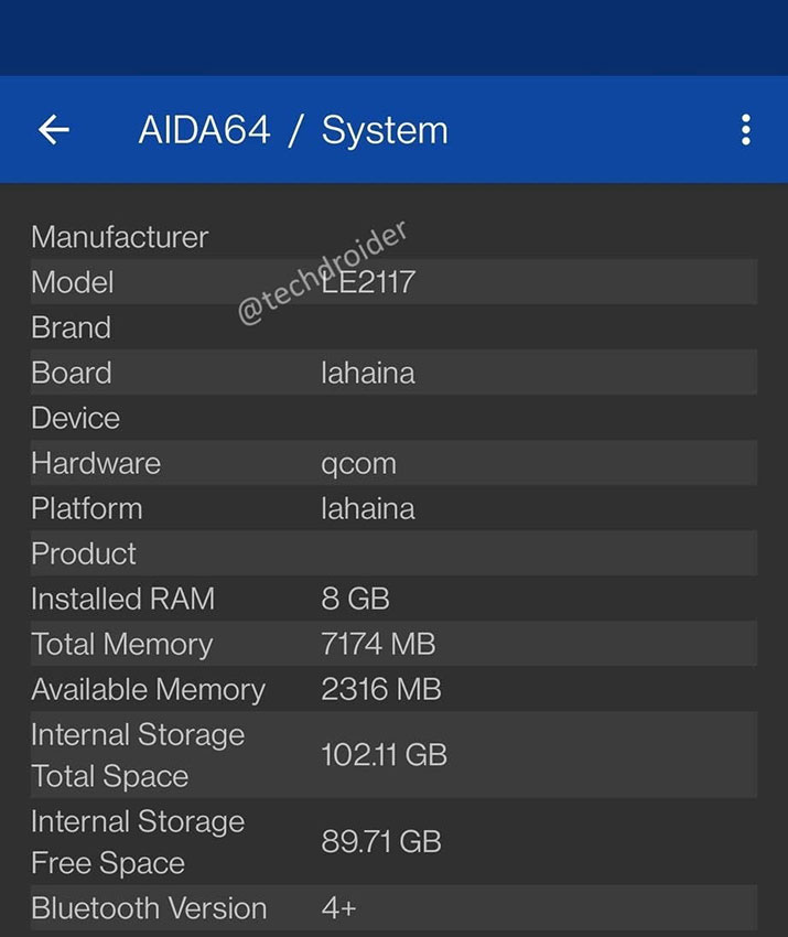 وان پلاس ۹ در AIDA64
