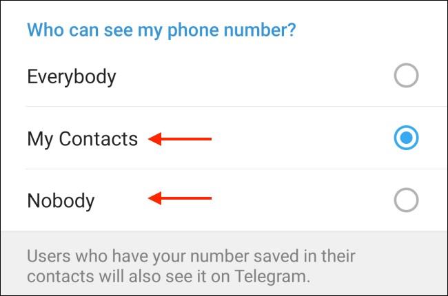 مخفی کردن شماره تلفن در تلگرام