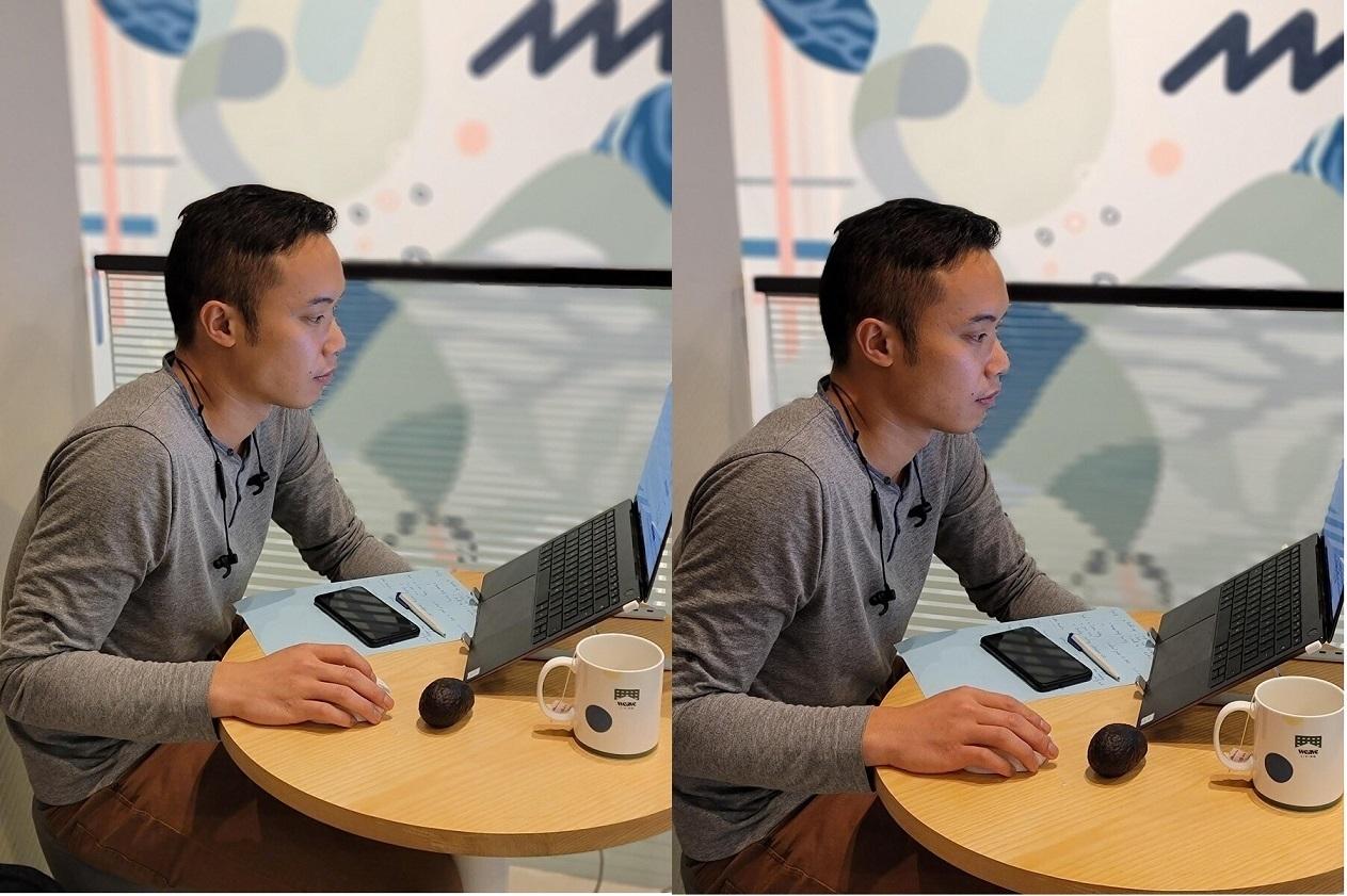 عکاسی پرتره - اس ۲۱ اولترا (زوم ۳ برابر اپتیکال) سمت چپ، نوت ۲۰ اولترا (زوم دیجیتال) سمت راست