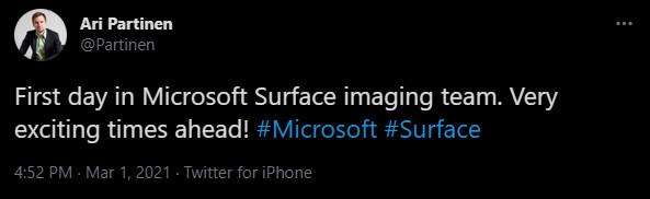 پیام پارتینن در تایید پیوستن به تیم دوربین سرفیس دوئو مایکروسافت