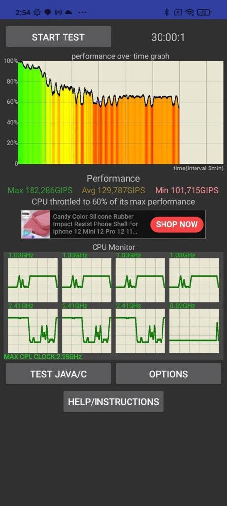 تست CPU Throttling اسنپدراگون ۸۶۰