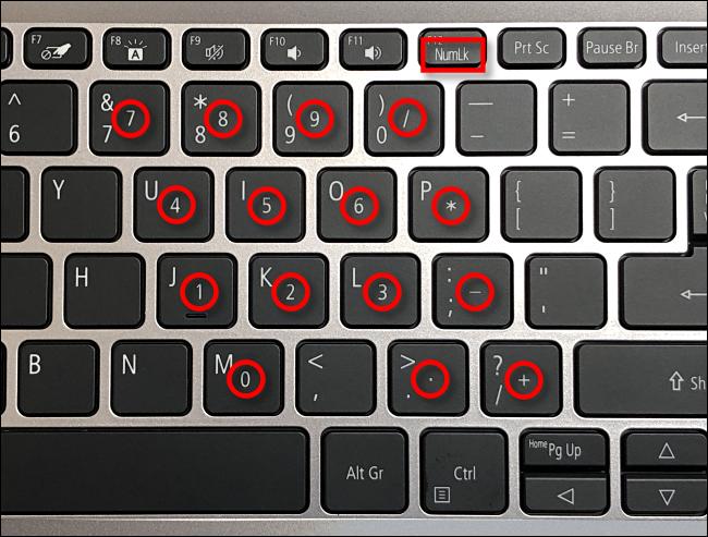 شبیه سازی کیبورد عددی در برخی لپ تاپ ها
