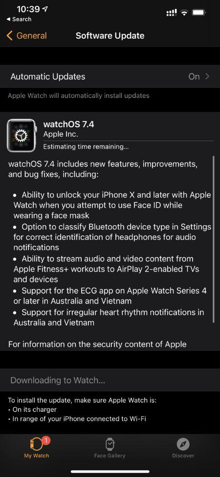 آپدیت WatchOS 7.4
