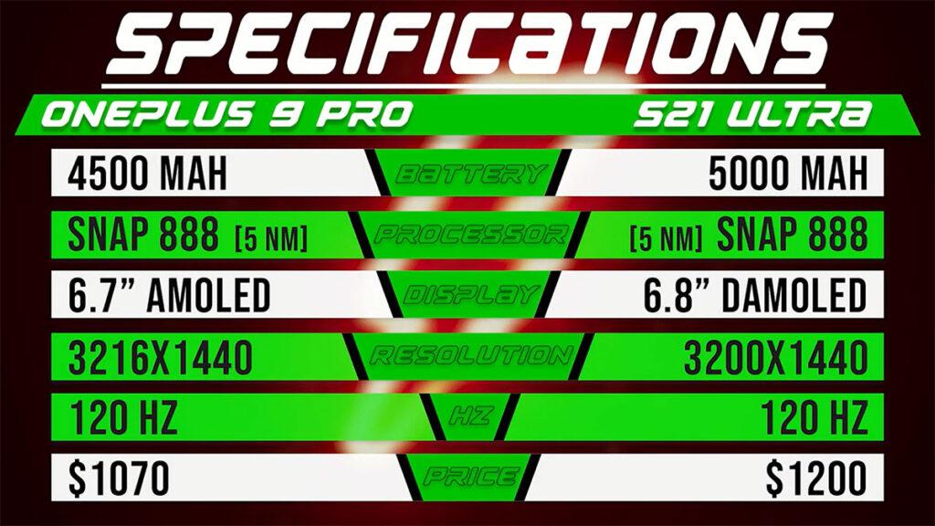 مقایسه مشخصات وان پلاس ۹ پرو با گلکسی اس ۲۱ اولترا