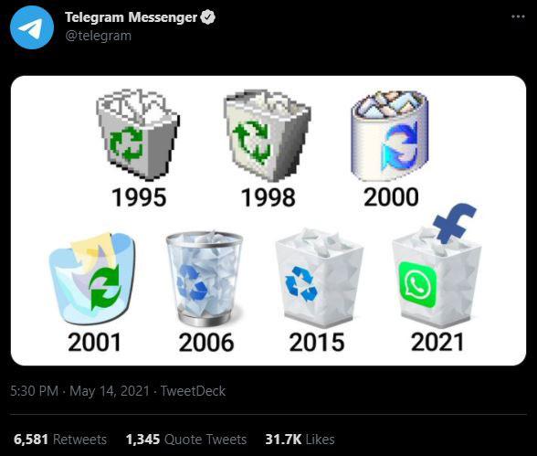 طعنه تلگرام به واتس اپ