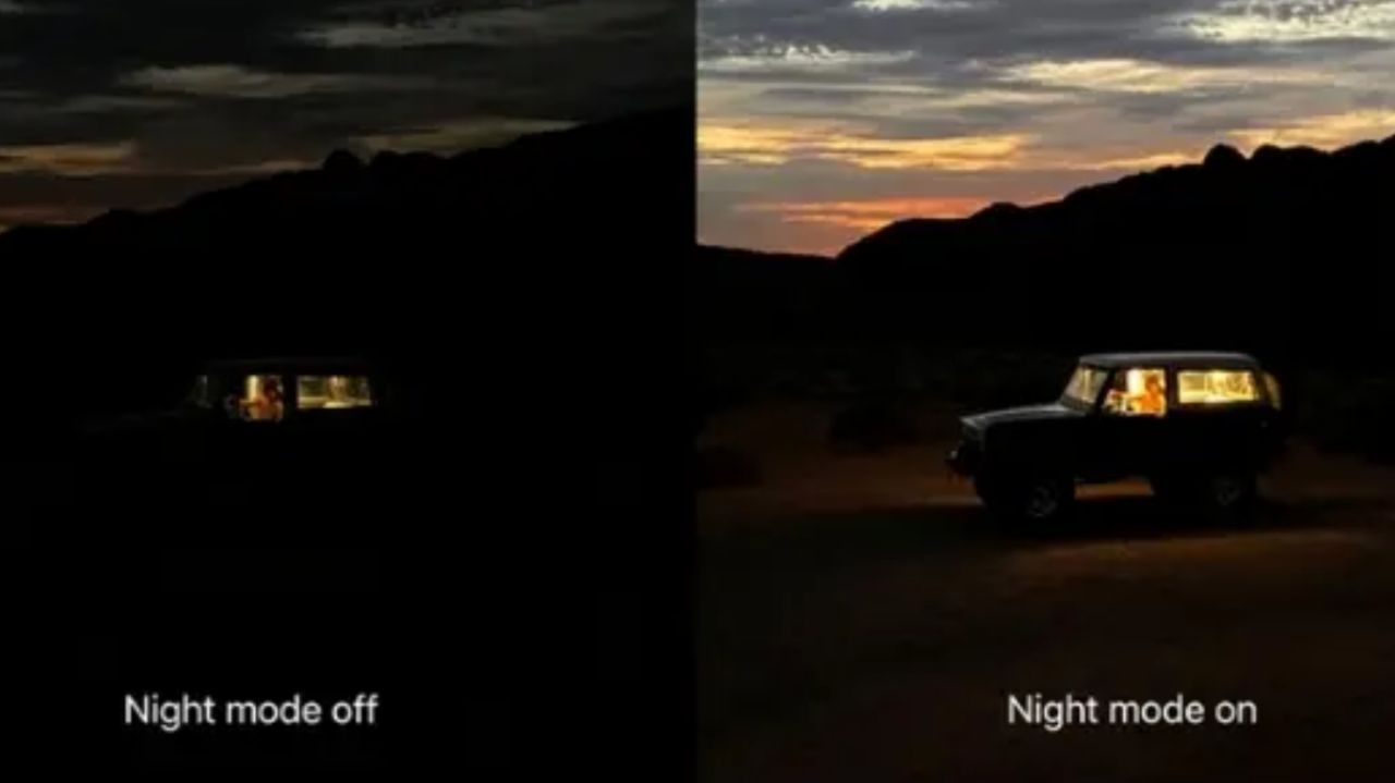 مقایسه نتایج ثبت شده بدون حالت شب و با حالت شب