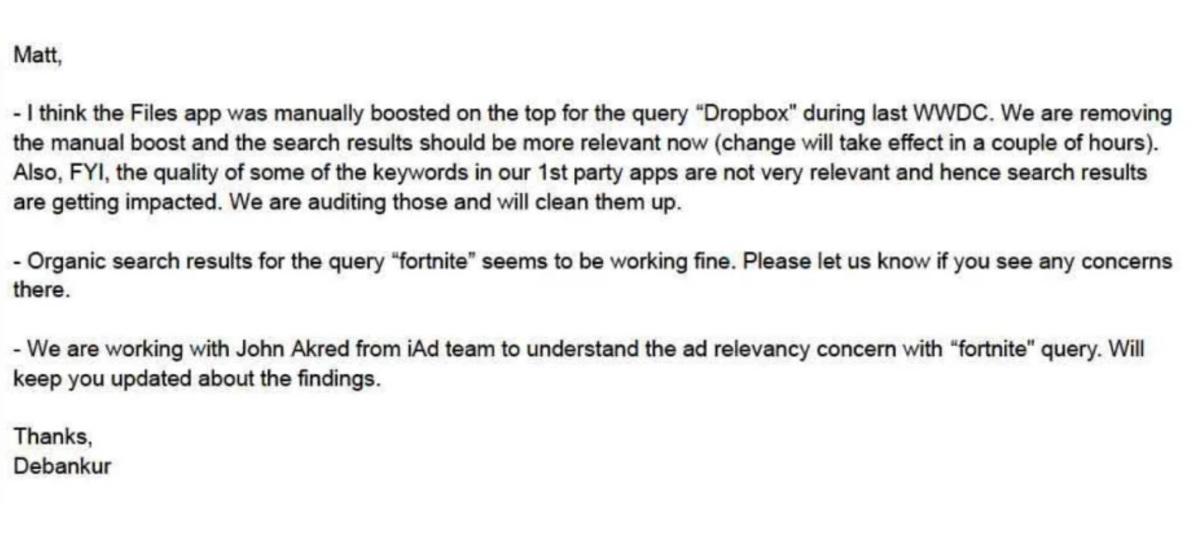 ایمیل مرتبط با دستکاری در نتایج جستجوی اپ استور