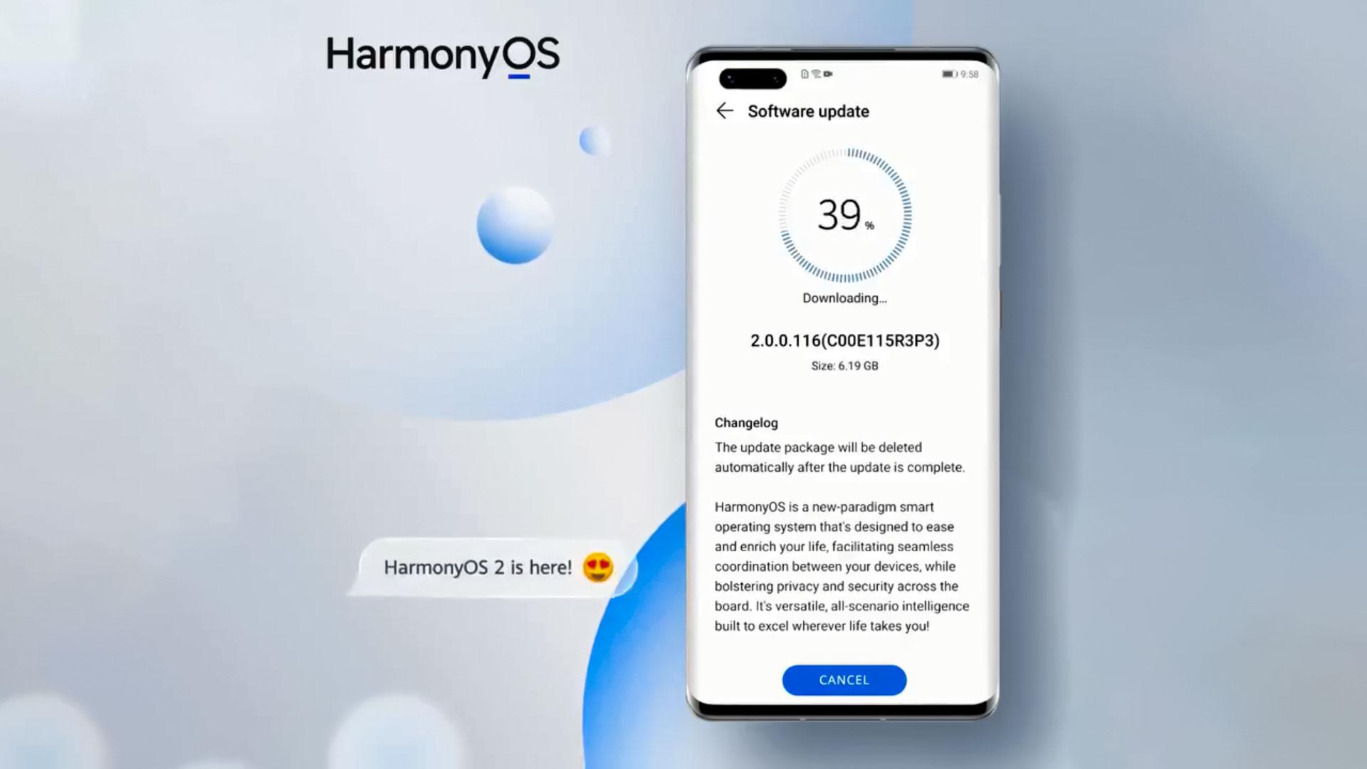 حجم آپدیت HarmonyOS