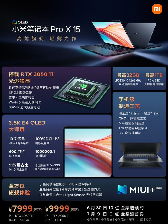 لپ تاپ Xiaomi Mi Notebook Pro X 15