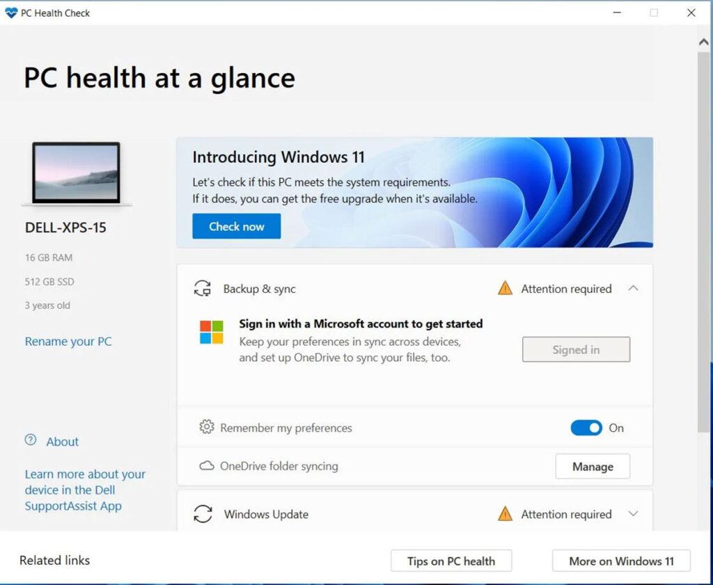 Windows PC Health برای ویندوز ۱۱