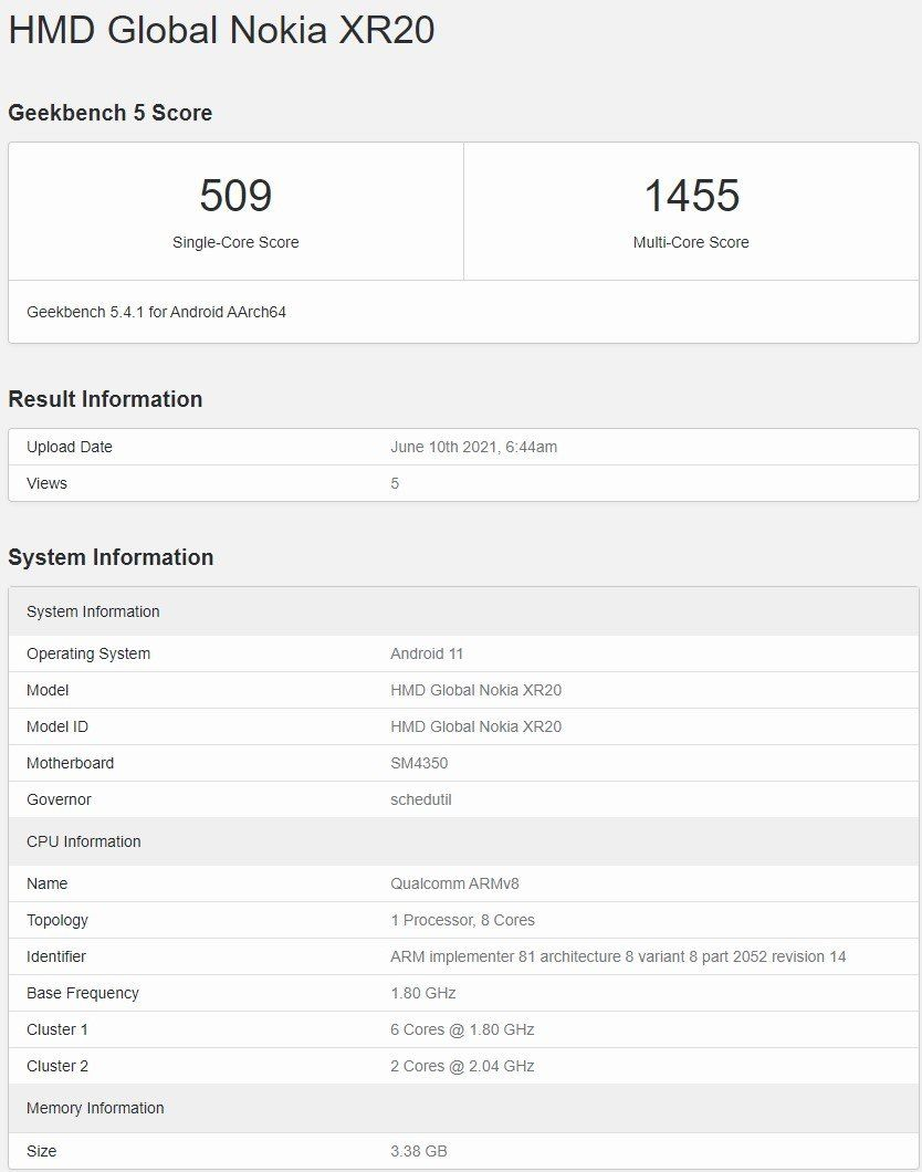 گوشی نوکیا XR20 در گیک بنچ نسخه ۵.۴.١