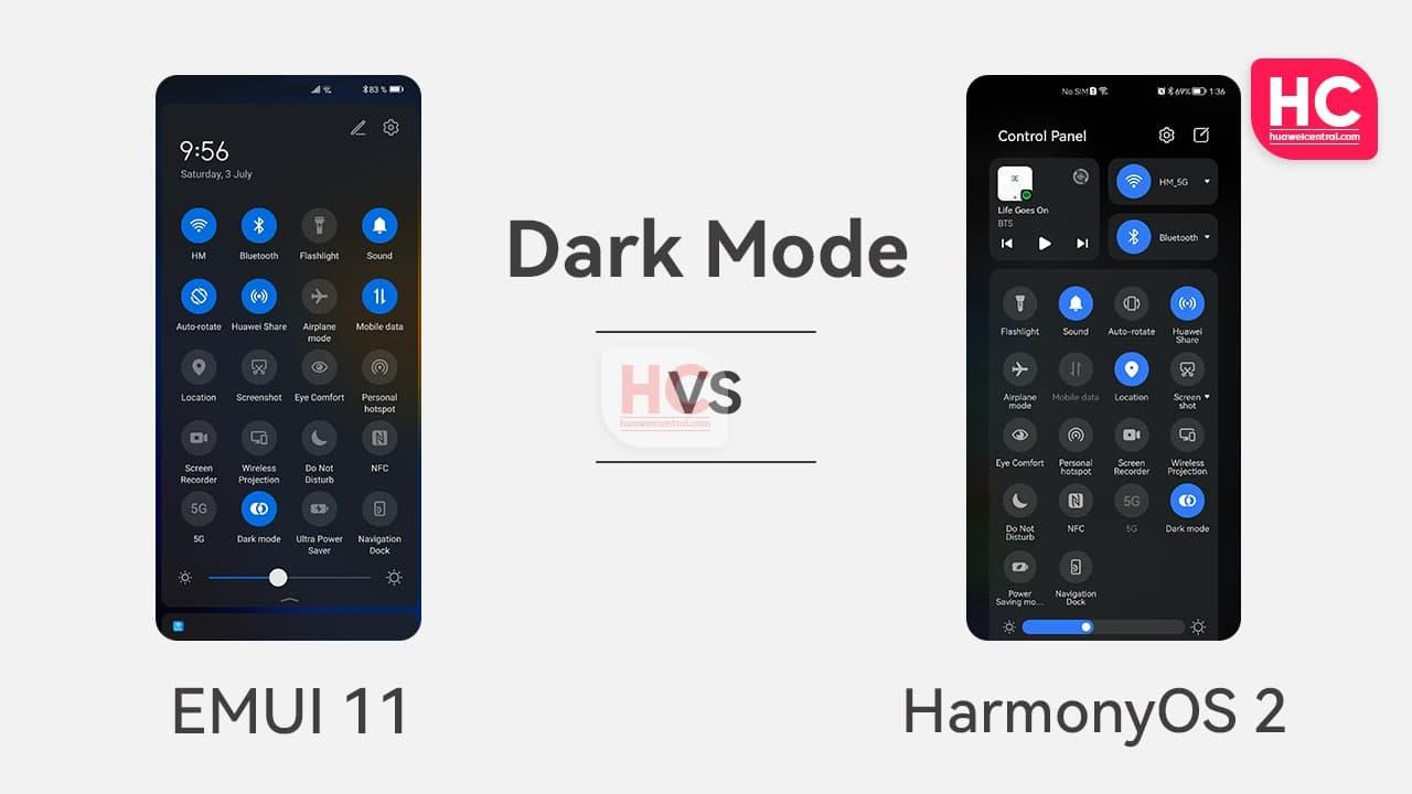 مقایسه Dark Mode در HarmonyOS 2.0 با EMUI 11